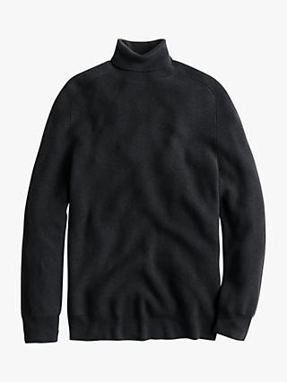 J.Crew Merino Ribbed Turtleneck Jumper, Black