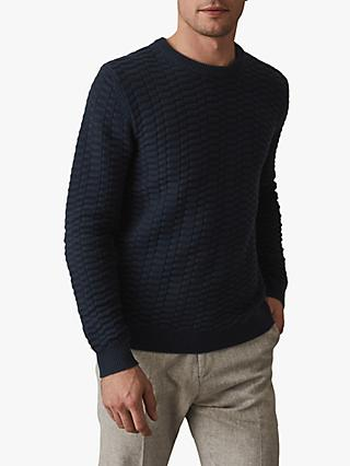 Reiss Barton Textured Weave Jumper, Navy