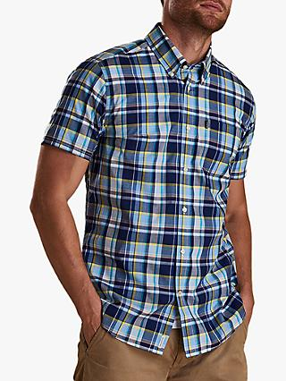 Barbour Madras Tailored Fit Shirt, Sky Blue