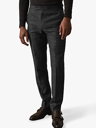 Reiss Verve Check Slim Fit Trousers, Charcoal