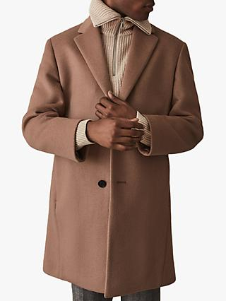 Reiss London Wool Blend Overcoat, Soft Pink