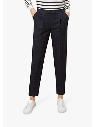Hobbs Straight Leg Aleena Trousers, Navy Multi