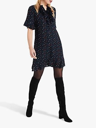 Phase Eight Sarah Star Frill Dress, Navy/Multi