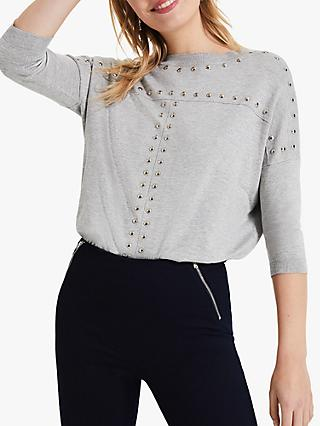 Phase Eight Serena Stud Seam Knit Top, Grey Marl