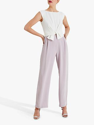 Phase Eight Janey Knot Front Jumpsuit, Ivory/Misty Mauve