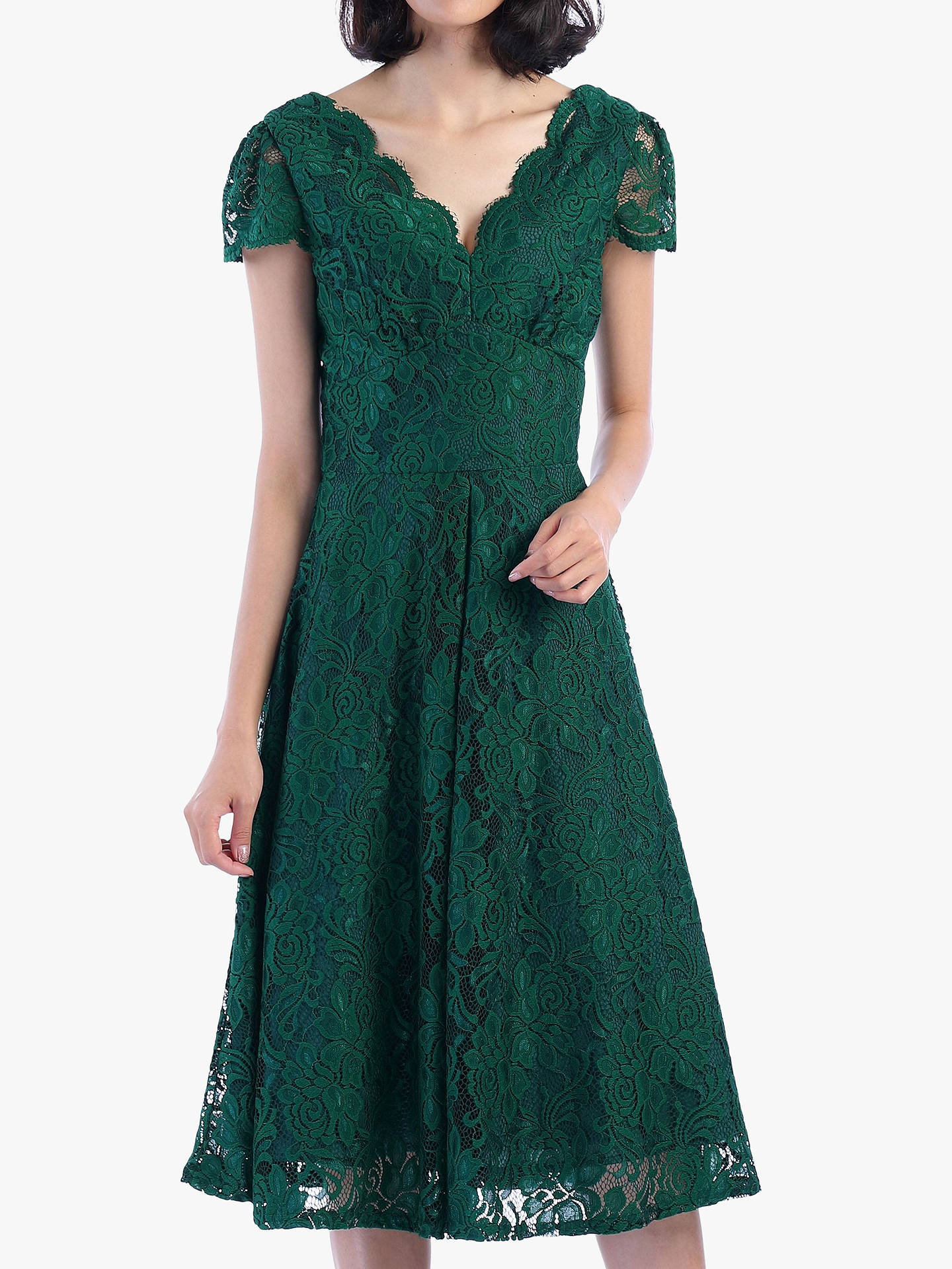BuyJolie Moi Cap Sleeve Lace Dress, Green, 8 Online at johnlewis.com