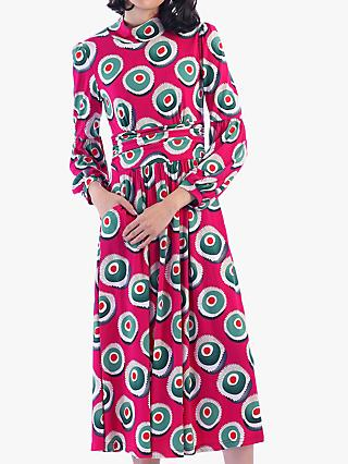 Jolie Moi Funnel Neck Retro Print Midi Dress, Plum