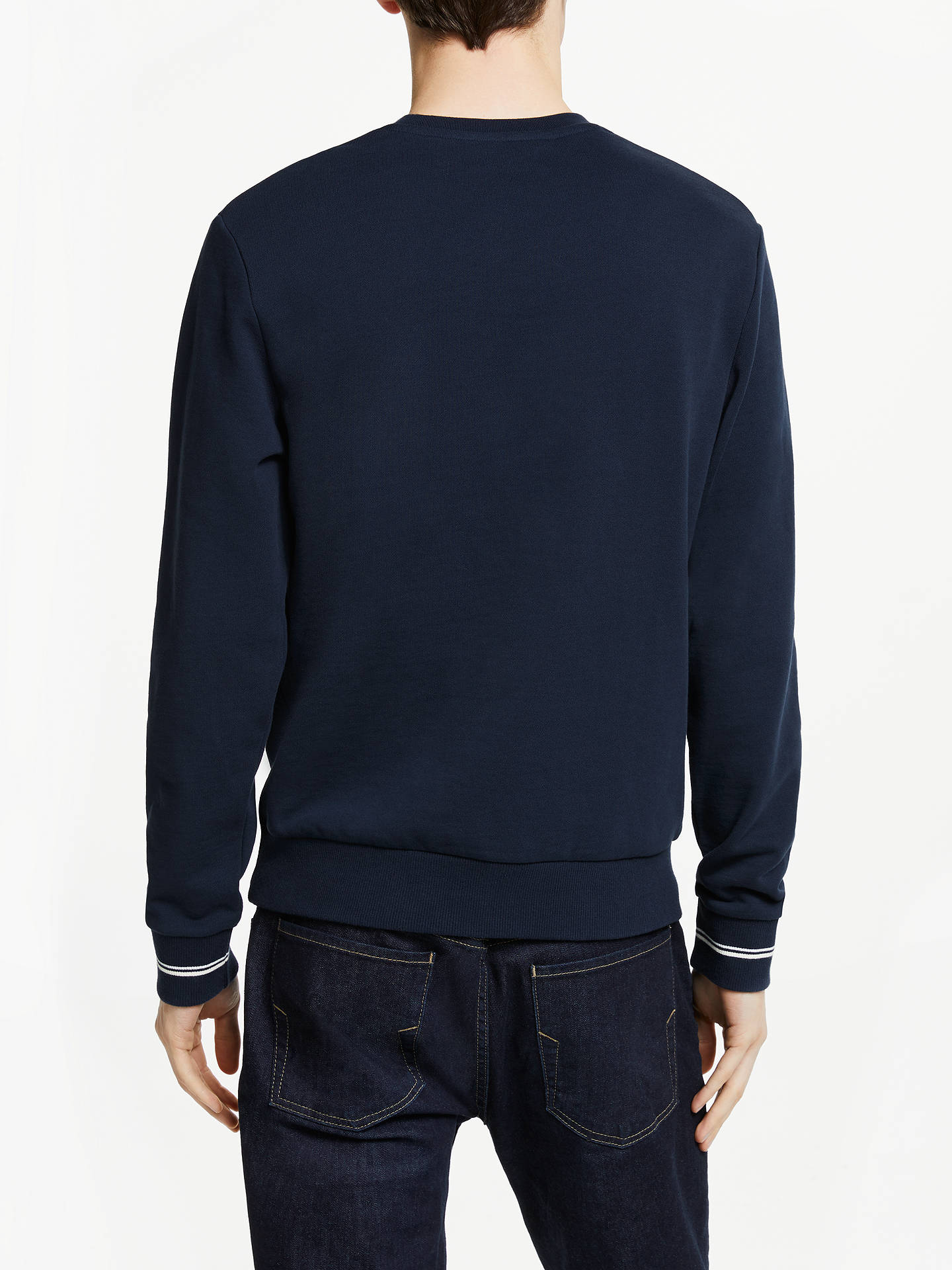 4c7e6e4a1ed Fred Perry Crew Neck Sweatshirt, Washed Navy at John Lewis & Partners