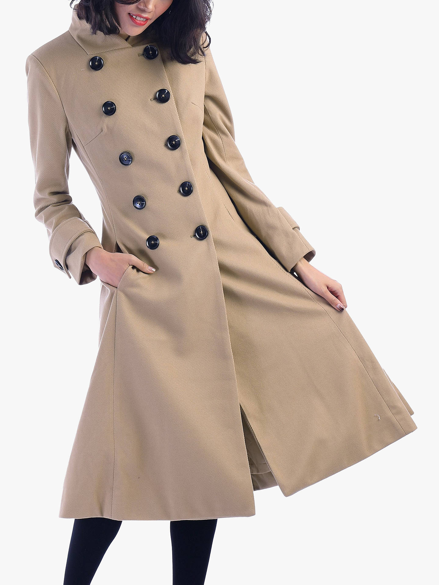 Buy Jolie Moi Double Breasted Flared Coat, Camel, 18 Online at johnlewis.com