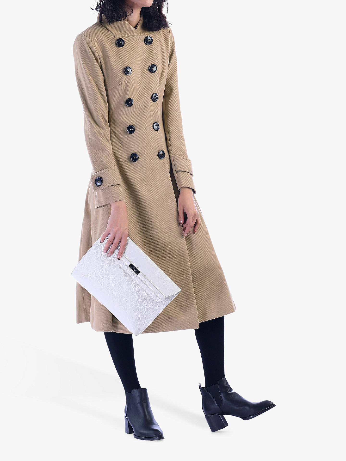Buy Jolie Moi Double Breasted Flared Coat, Camel, 8 Online at johnlewis.com