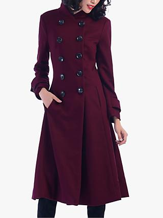 Jolie Moi Double Breasted Flared Coat, Burgundy