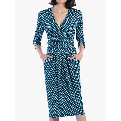 Jolie Moi Print Wrap Midi Dress, Blue Geo
