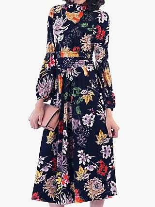 Jolie Moi Funnel Neck Floral Print Midi Dress, Black