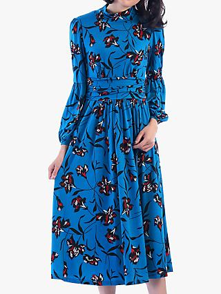 Jolie Moi Funnel Neck Floral Print Midi Dress, Teal