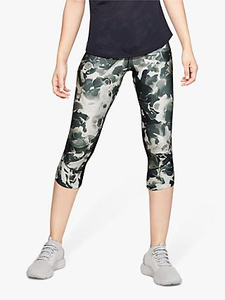 Under Armour Flyfast Print Capri Running Tights, Grey/Silver