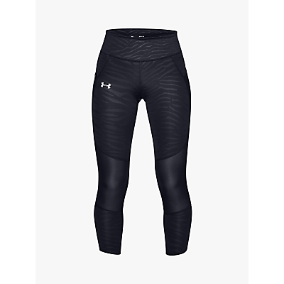 Under Armour Speedpocket Printed Cropped Running Tights, Black
