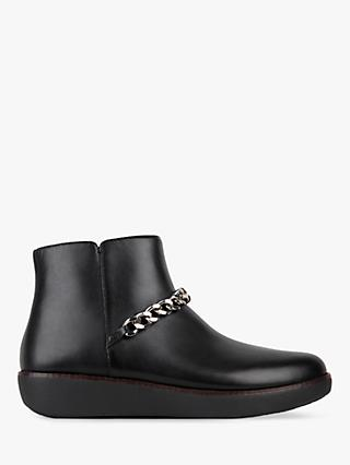 FitFlop Pia Chain Detail Flatform Ankle Boots, Black Leather