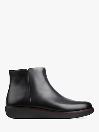 FitFlop Ziggy Zip Flatform Ankle Boots, Black Leather