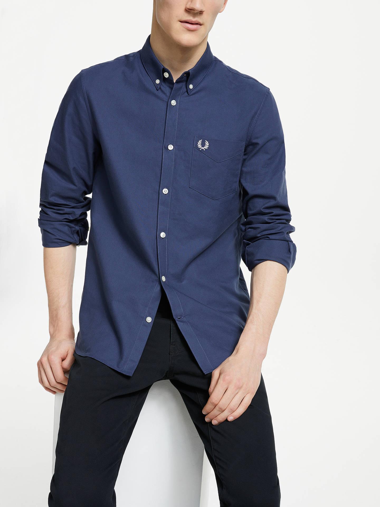 3ba1e8b4 Buy Fred Perry Classic Oxford Long Sleeve Shirt, Phantom, M Online at  johnlewis.