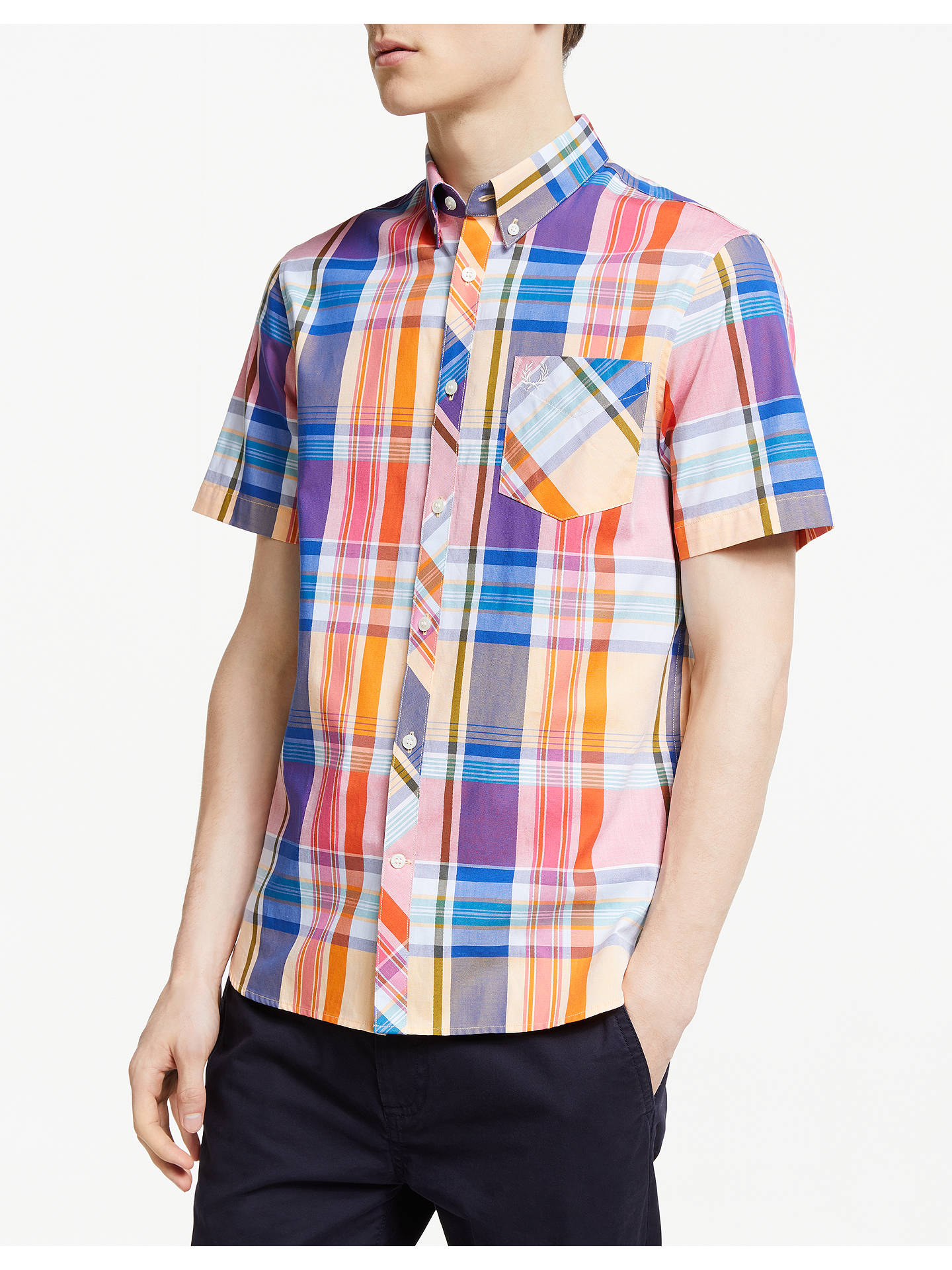 2bab5c1380 Buy Fred Perry Madras Short Sleeve Check Shirt, Red, S Online at johnlewis.