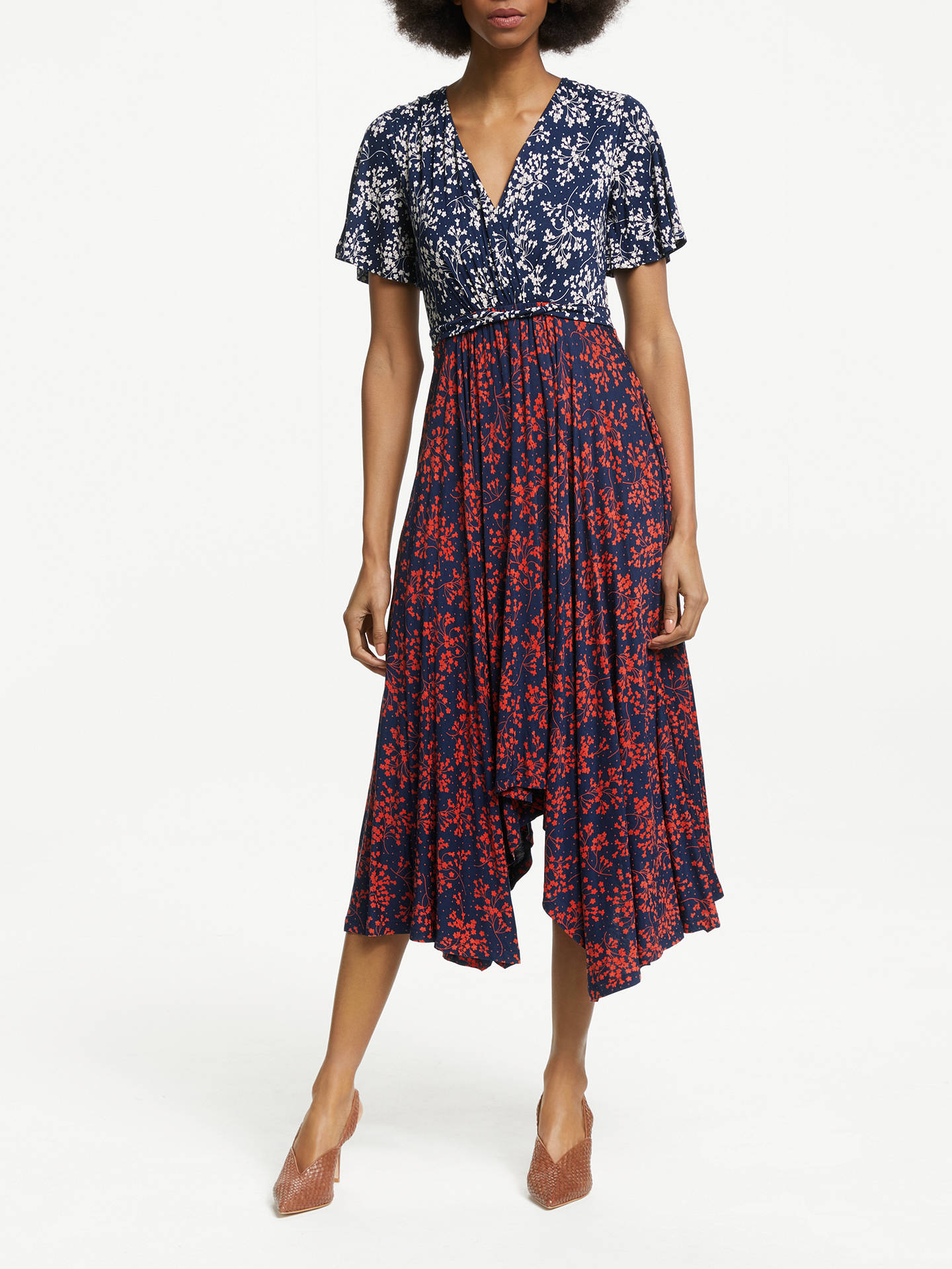7f7e68fe32d4 Buy Boden Heather Floral Midi Dress, Navy Bloom, 10 Online at johnlewis.com  ...