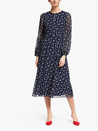 Boden Ada Midi Dress, Navy Posy Blossom