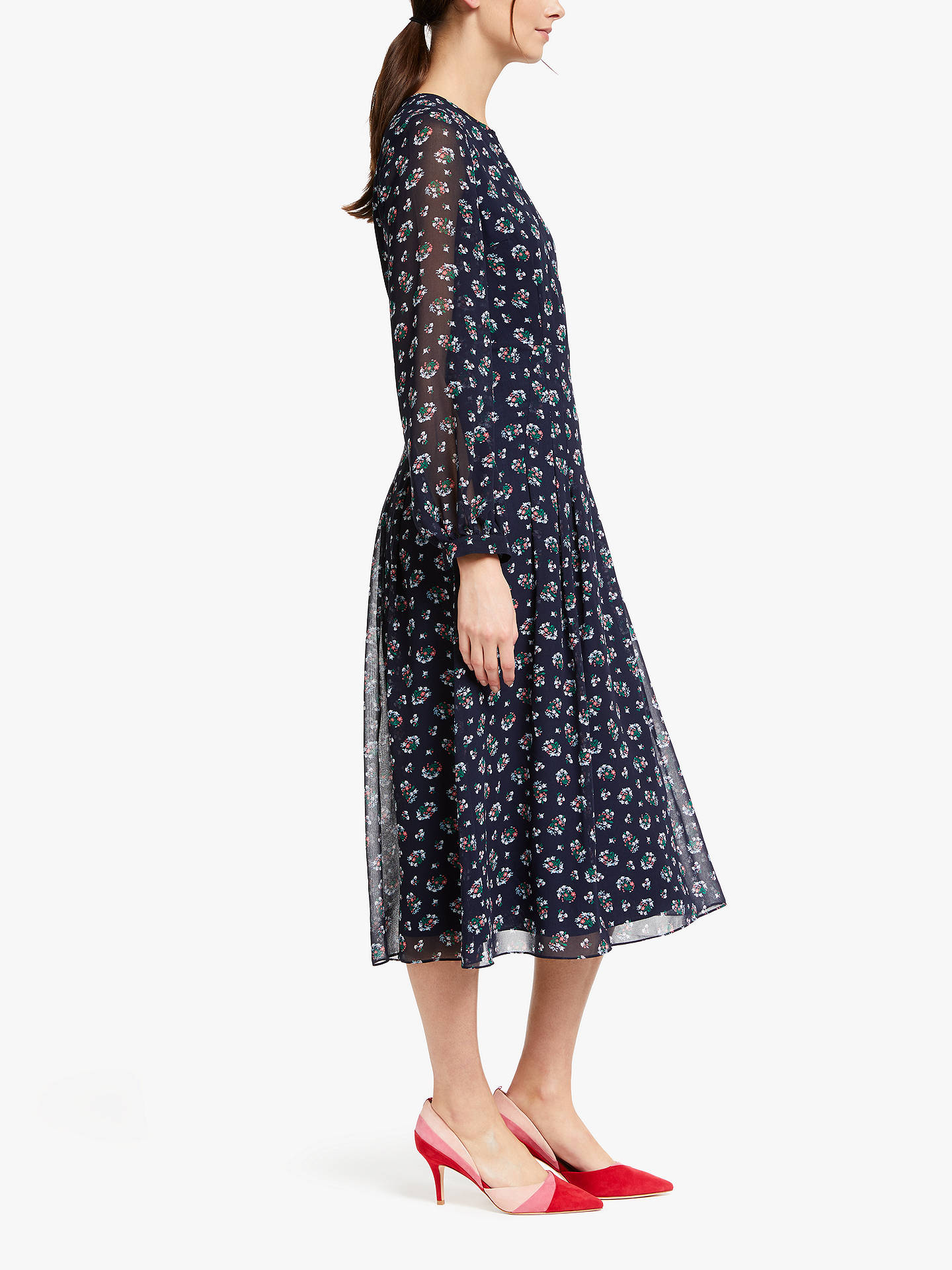 BuyBoden Ada Midi Dress, Navy Posy Blossom, 14 Online at johnlewis.com