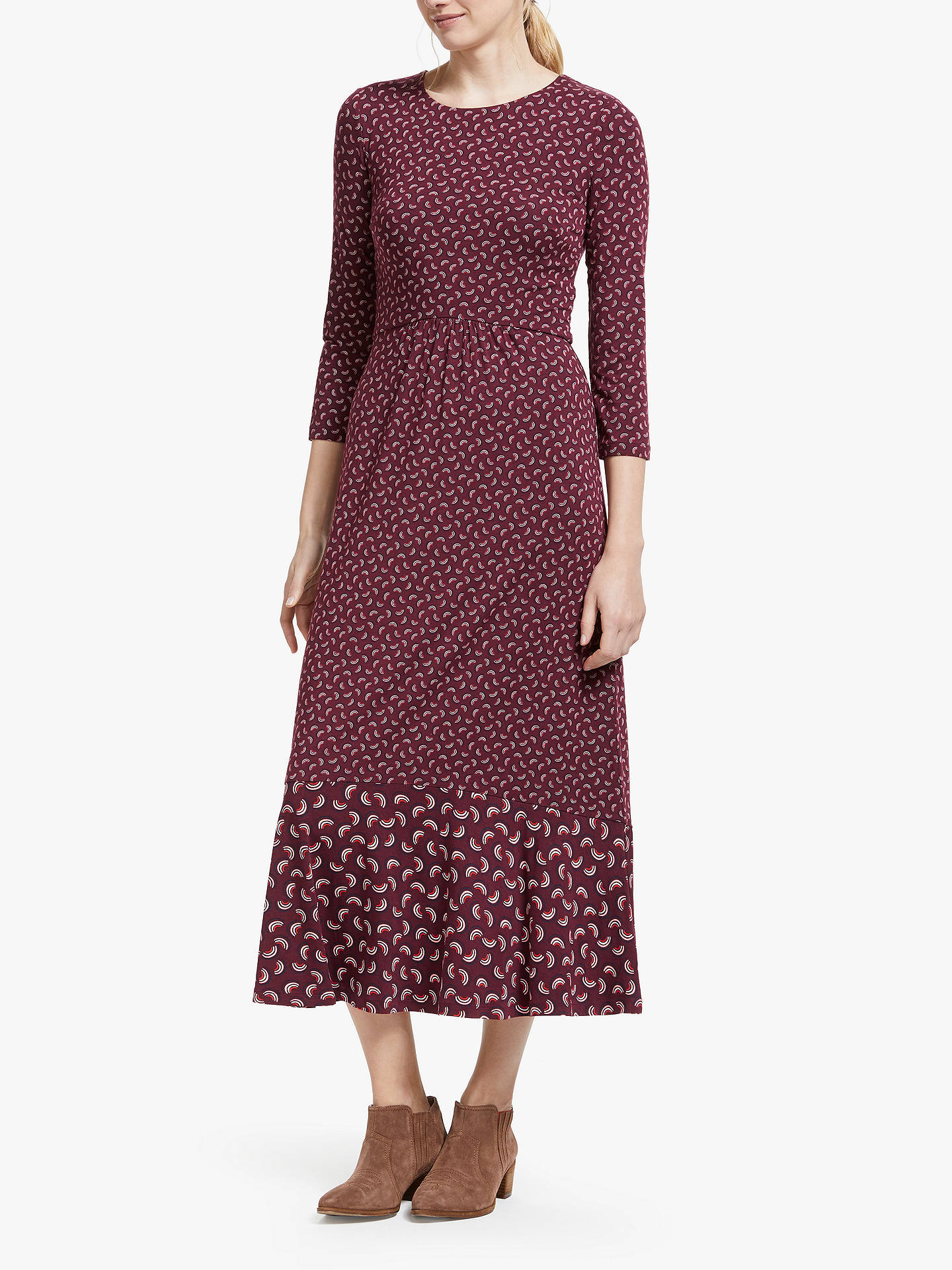 1fb3489e0f31 Buy Boden Philippa Hem Detail Midi Dress, Maroon, 8 Online at johnlewis.com  ...