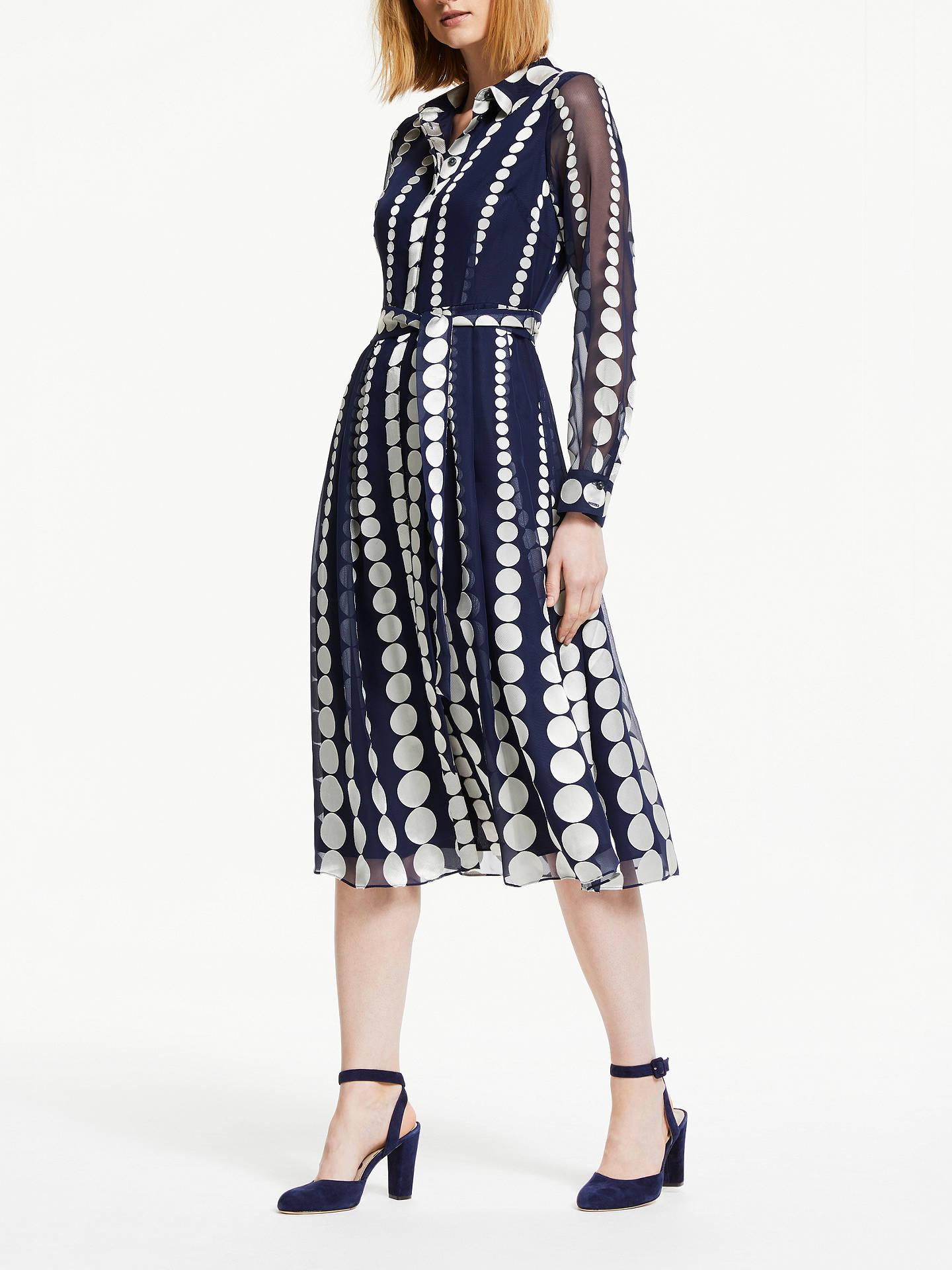 ecf41617d2 Buy Boden Genevieve Spot Print Tie Waist Midi Dress, Navy, 16 Online at  johnlewis ...