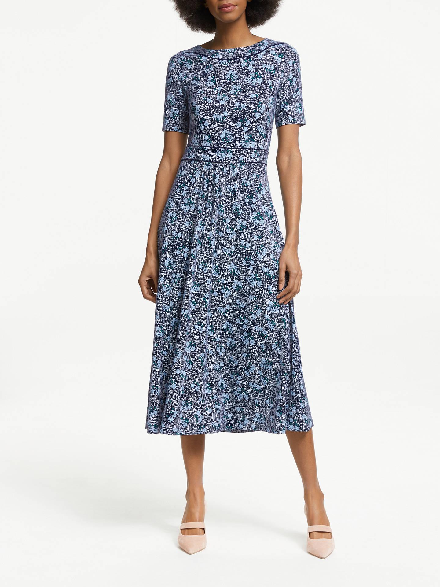 8edc89fb60bde Buy Boden Ava Floral Spot Midi Dress, Navy/Heron Blue, 8 Online at ...