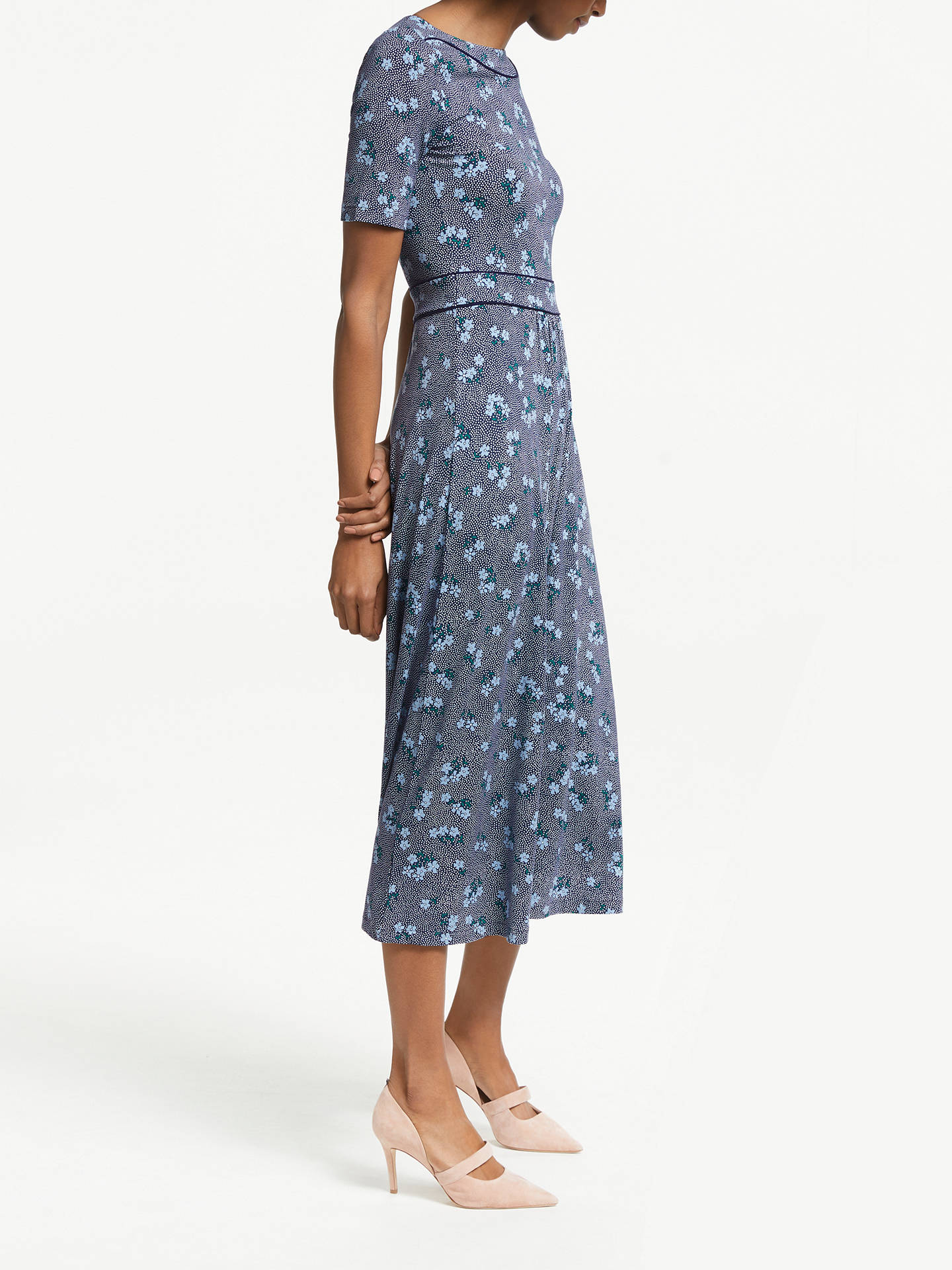 08c9f9dc5f3ae ... Buy Boden Ava Floral Spot Midi Dress, Navy/Heron Blue, 8 Online at