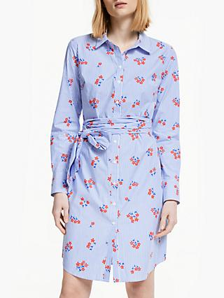 Boden Floral Stripe Tie Waist Shirt Dress, Red Pop/Scat Daisy