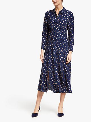 Boden Charlotte Mixed Spot Midi Dress, Navy/Truffle