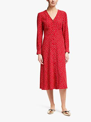 Boden Elsie Button Spot Print Midi Dress