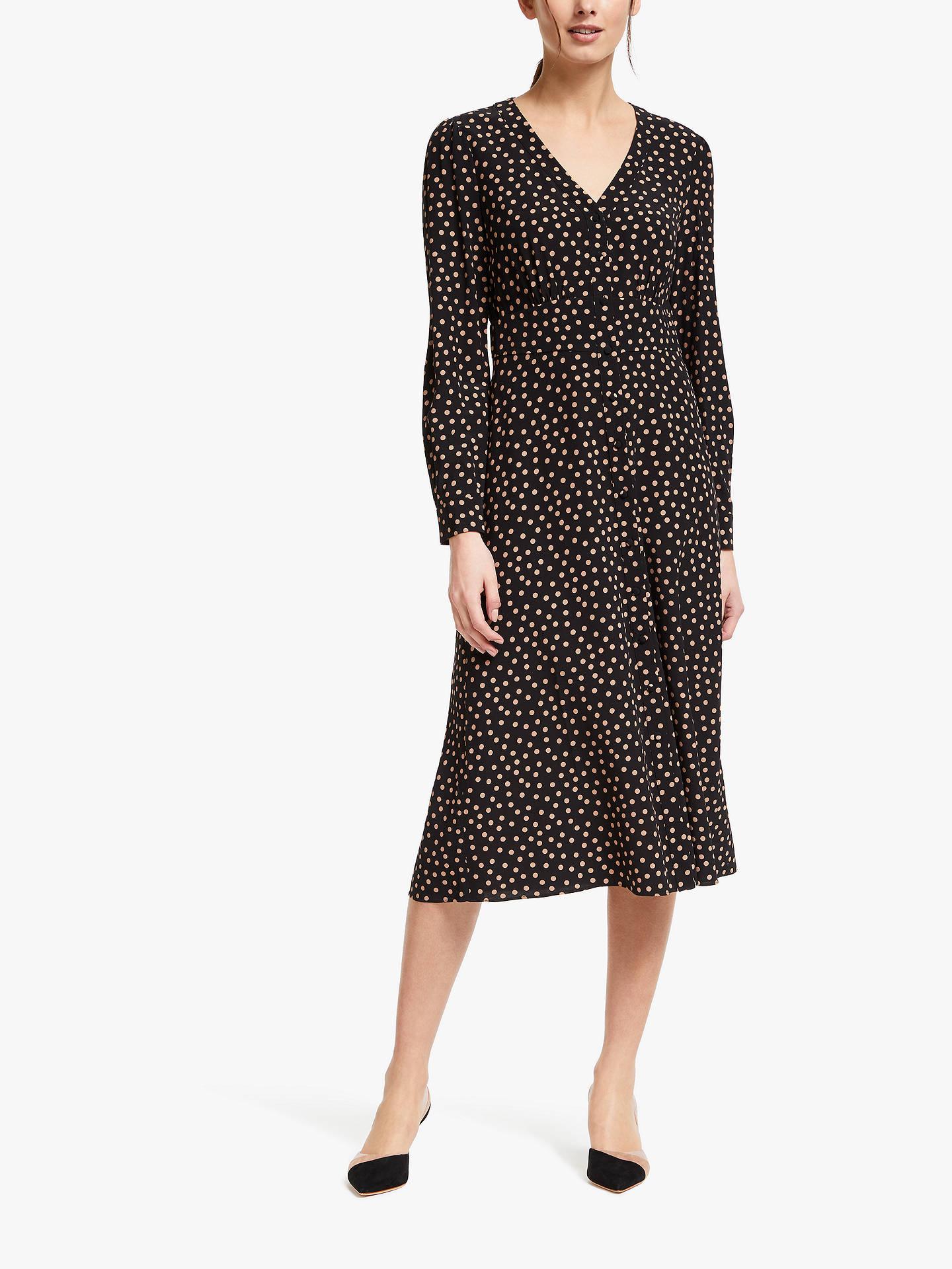 317229c78c Buy Boden Elsie Button Spot Print Midi Dress, Black, 8 Online at johnlewis.