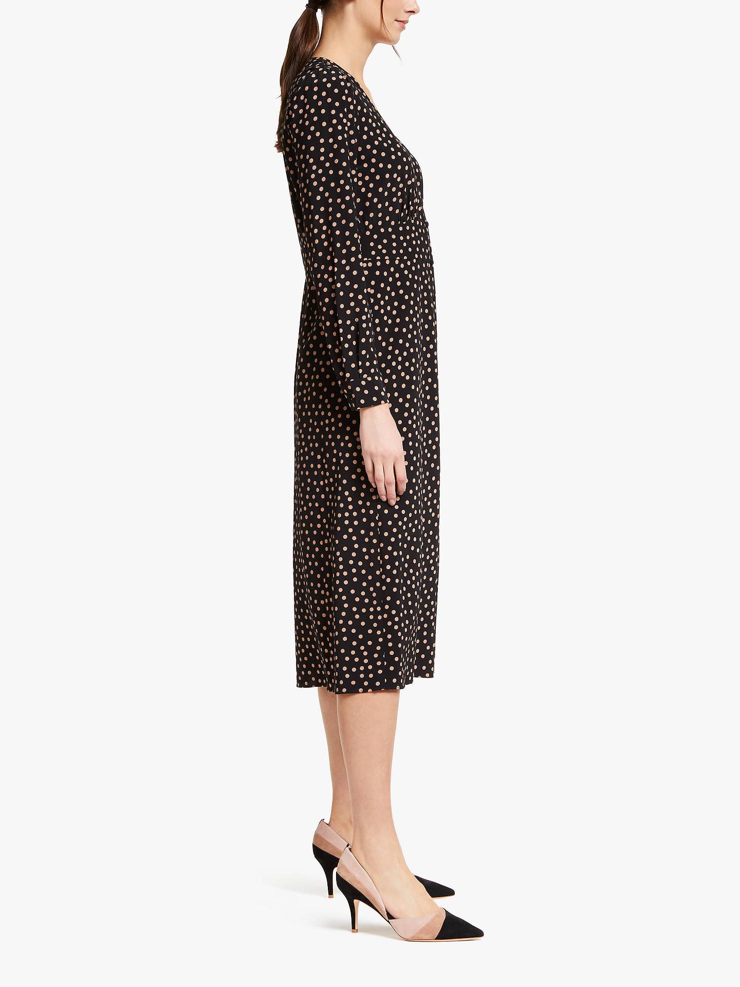 8d03ff8a4a5cf Buy Boden Elsie Button Spot Print Midi Dress, Black, 8 Online at johnlewis.