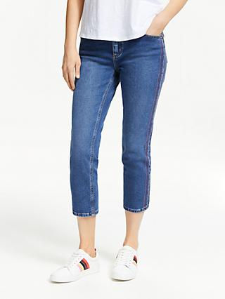 Boden Cambridge Embroidered Jeans, Blue/Rainbow Stripe
