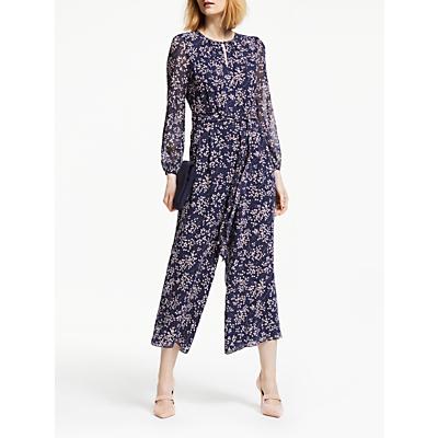 Boden Hermione Silk Tie Waist Floral Jumpsuit, Navy