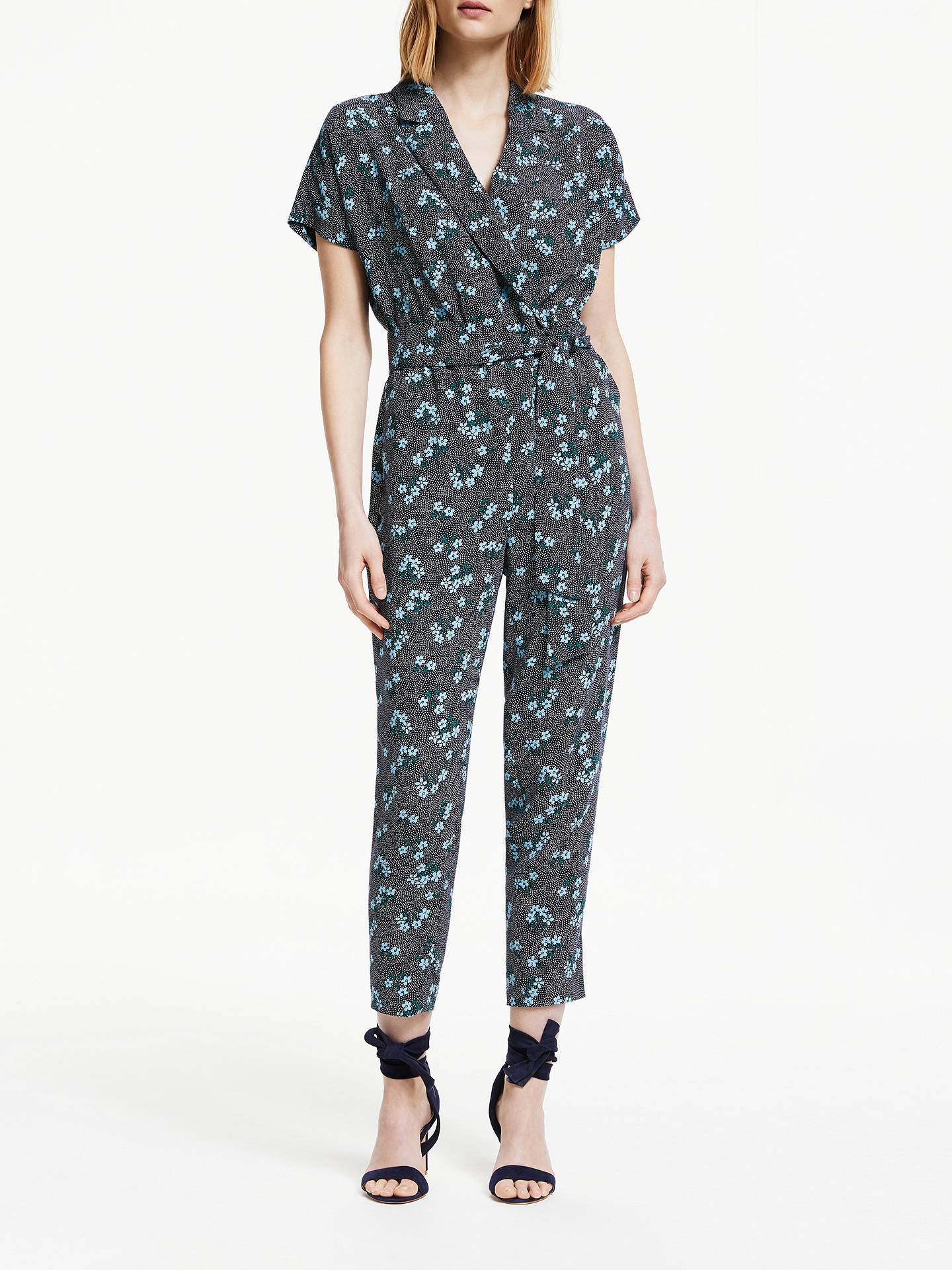 Buy Boden Frederica Floral Print Jumpsuit, Navy/Blue, 10 Online at johnlewis.com