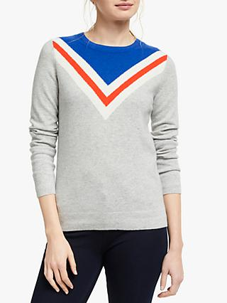 Boden Cashmere Crew Neck Chevron Knit Jumper