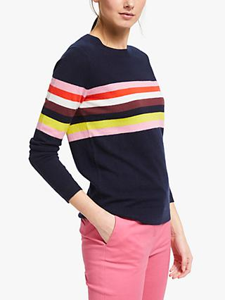 Boden Cashmere Crew Neck Jumper, Navy/Multi Stripe