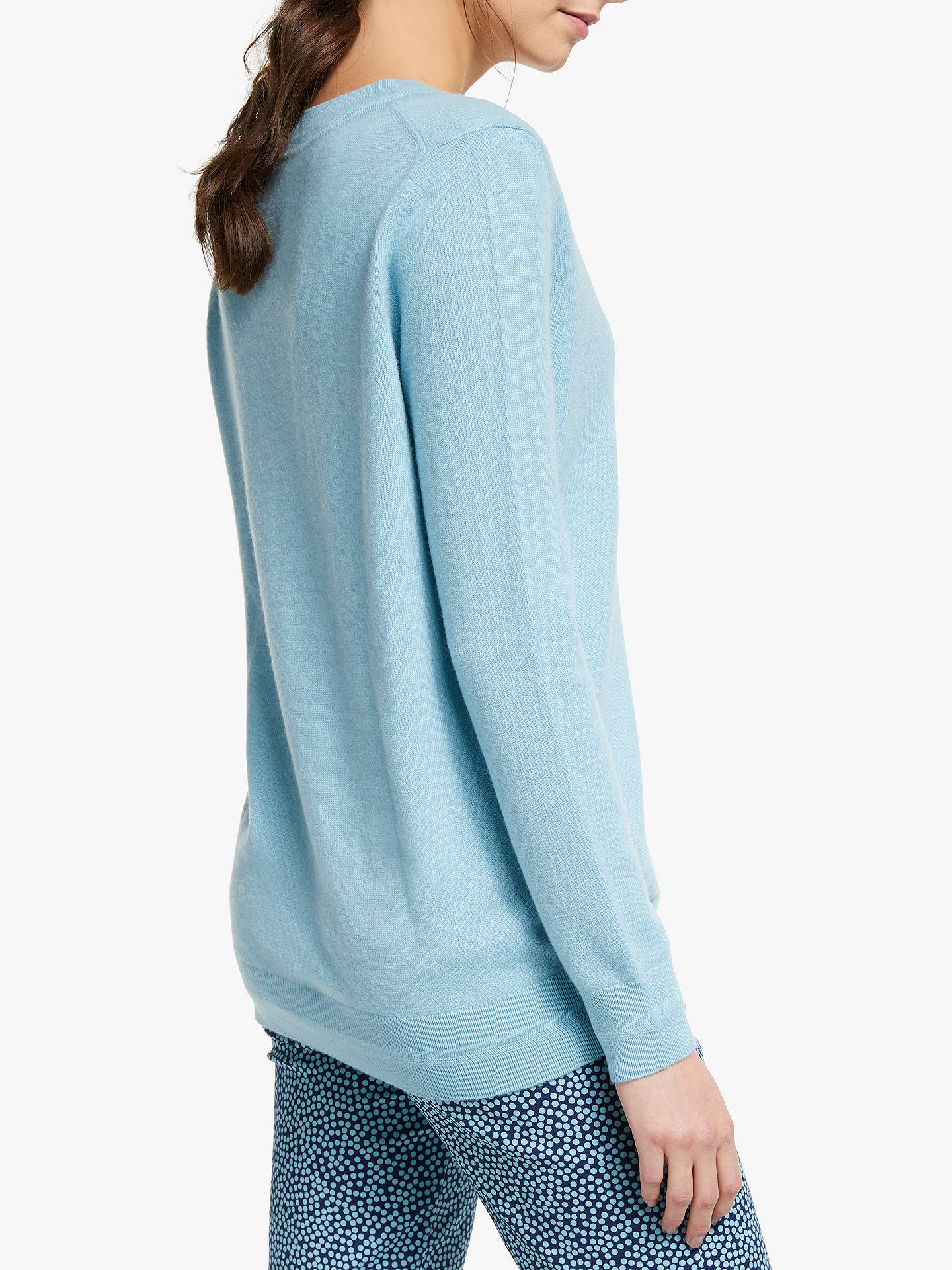 BuyBoden Cashmere V-Neck Jumper, Heron Blue, XS Online at johnlewis.com