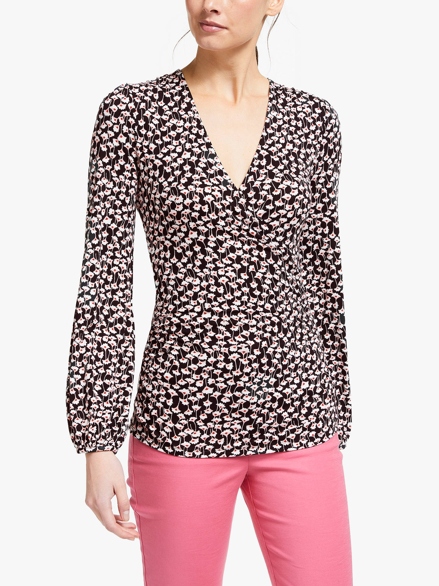 825d80bf9fc4 Buy Boden Elodie Wrap Top, Black, 10 Online at johnlewis.com ...