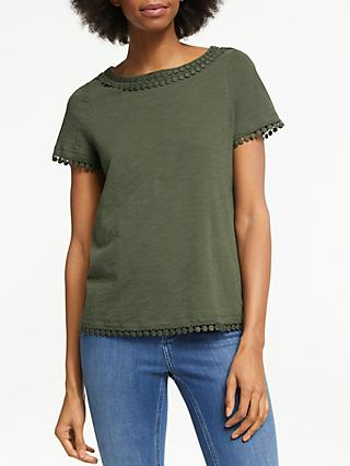 311a1fb9057cd Boden Thelma Lace Trim Jersey T-Shirt
