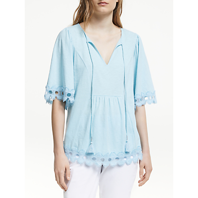Boden Ayla Jersey Cotton Top, Heron Blue