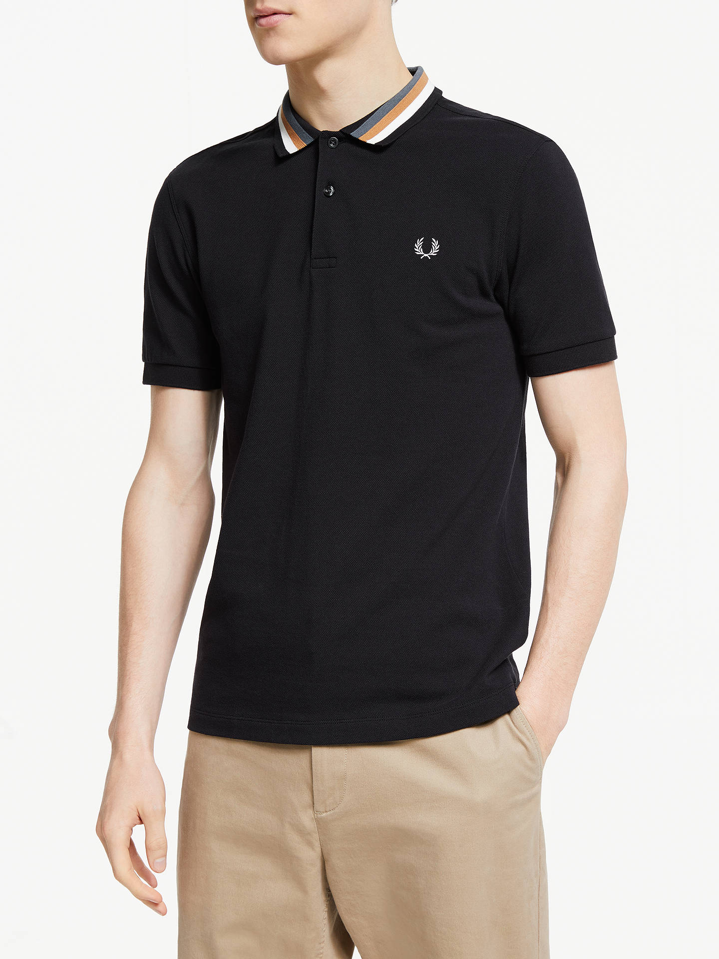 8650107e Buy Fred Perry Bomber Stripe Polo Shirt, Black, XL Online at johnlewis.com  ...