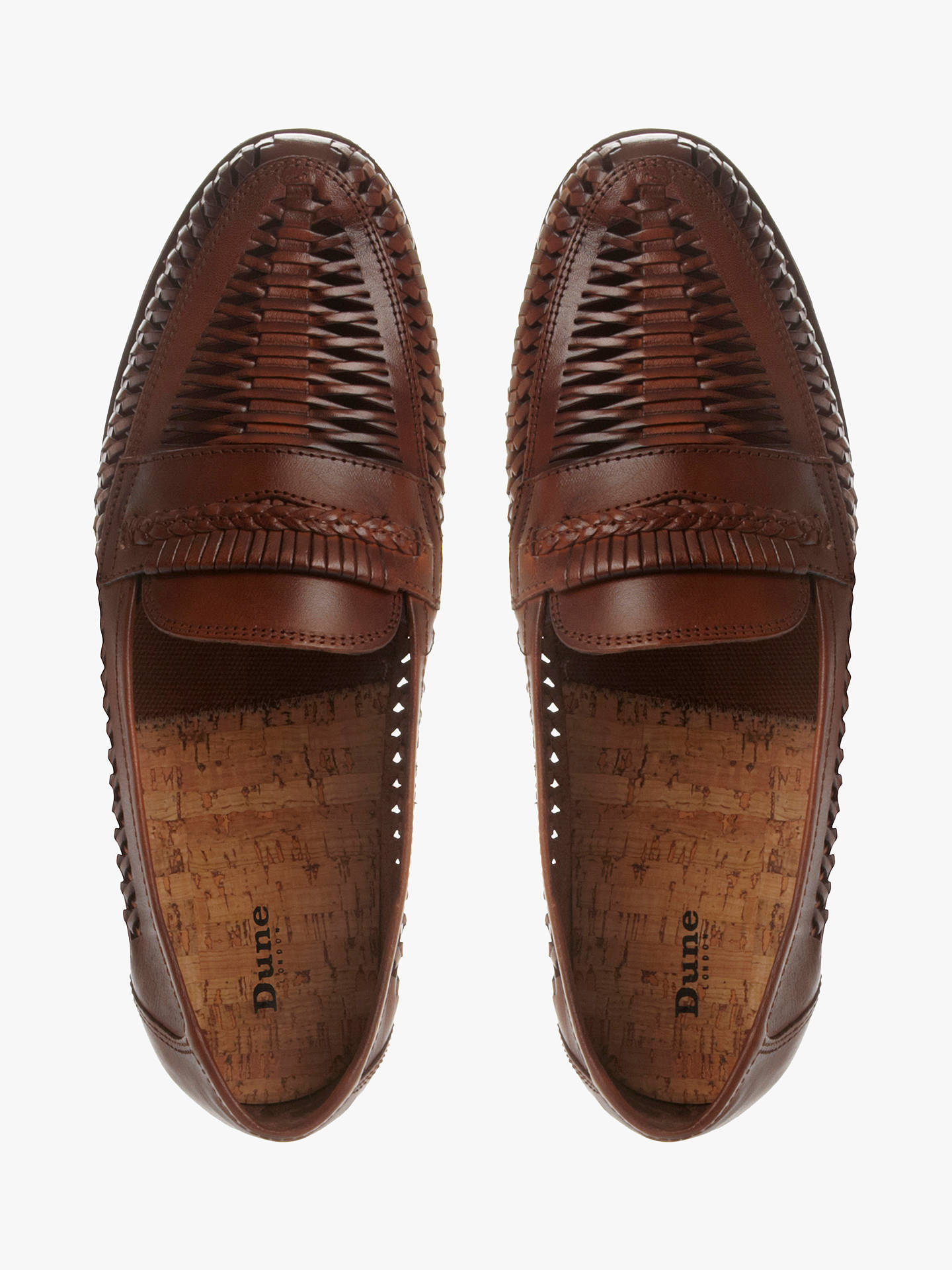 dd55661a5a0408 ... Buy Dune Brighton Rock Woven Leather Loafers, Tan, 6 Online at  johnlewis.com