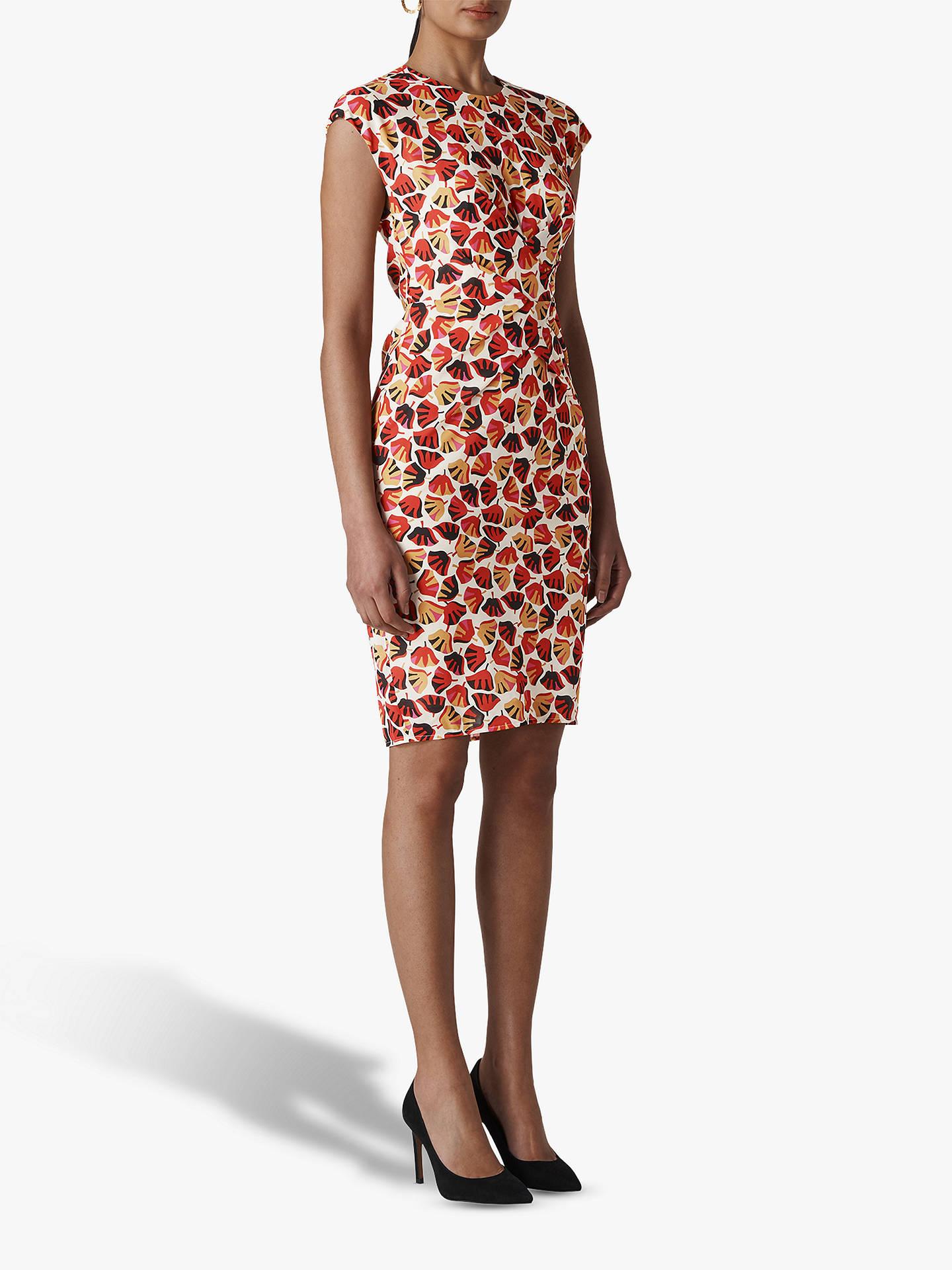 665de2cf5b96b Whistles Flower Pod Silk Blend Bodycon Dress, Pink/Multi at John ...