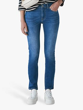 Whistles Mid Wash Skinny Jeans, Blue Denim