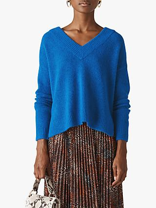 Whistles Oversized V-Neck Jumper, Blue